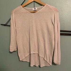 Old navy beige striped quarter sleeve high low top